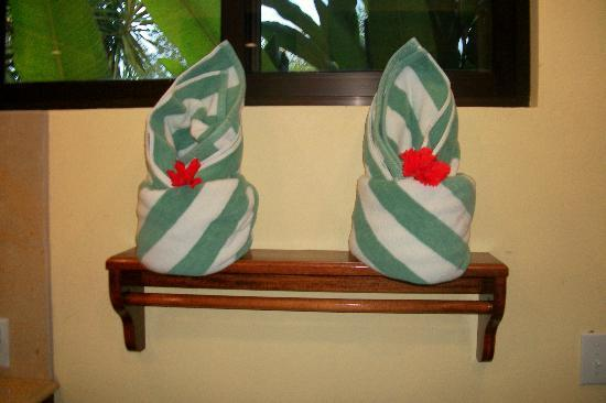Sleeping Giant Lodge: made up towels