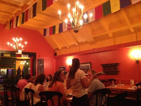 Kathmandu Cafe: long vaulted sound reflective ceiling