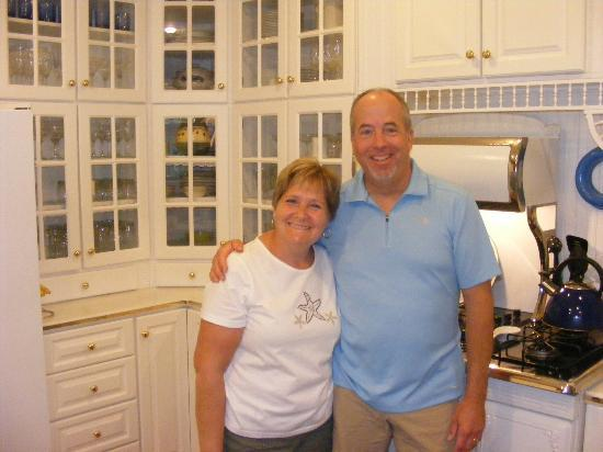 Hexagon House Bed and Breakfast: Our friendly, humorous, and talented innkeepers, Amy and Tom Hamel, in the accessible kitchen ar