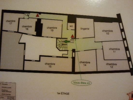 Hotel Le Chambellan: pianta delle camere del primo piano