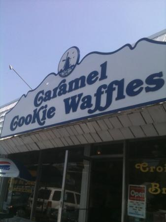 Caramel Cookie Waffle: sign on building