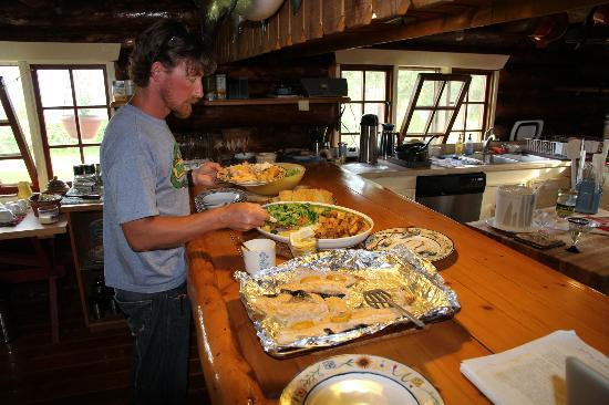 Iniakuk Lake Wilderness Lodge: John and our delicious lake trout