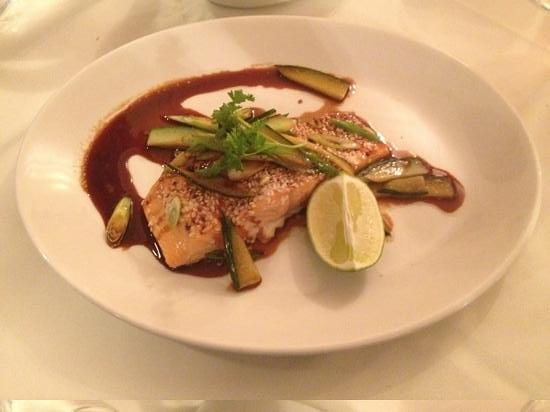 Anderson's: Baked salmon fillet with cucumber, spring onion and sweet soy dressing!