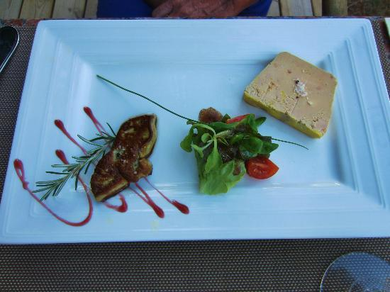 Le Troubadour: The food is amazing.  Here is some foie gras.