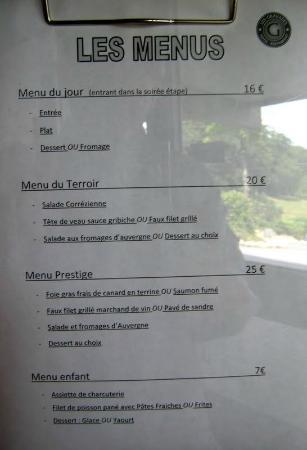 Hôtel Les Gravades : menus