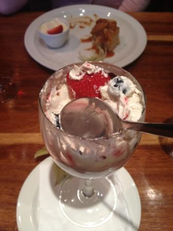 F.X. Buckley Pembroke St: Eaton berry mess (with toffee apple pudding and ice cream in the background)