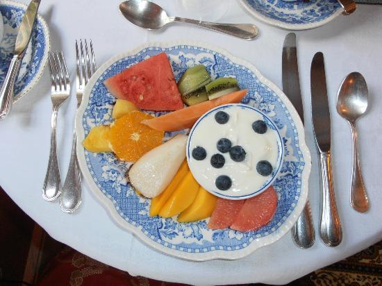 "Avon View Bed & Breakfast: The fruit platter - originally introduced for guests to pick at whilst the ""hots"" were prepared"