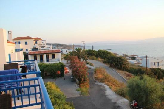 Irida hotel: View to the left of the balcony
