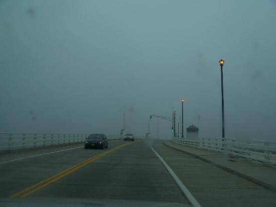 Mantoloking Bridge, quiet in the grey afternoon.