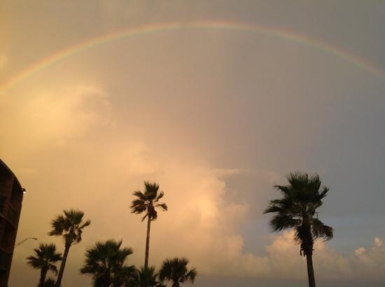 Commodore on the Beach: Rainbow over the Gulf...view from the second floor.