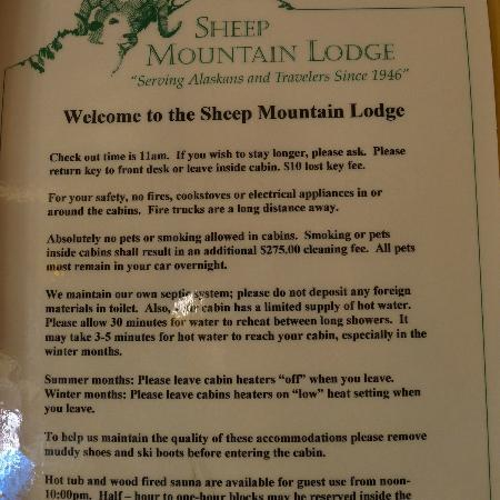 ‪‪Sheep Mountain Lodge‬: sign in cabin‬
