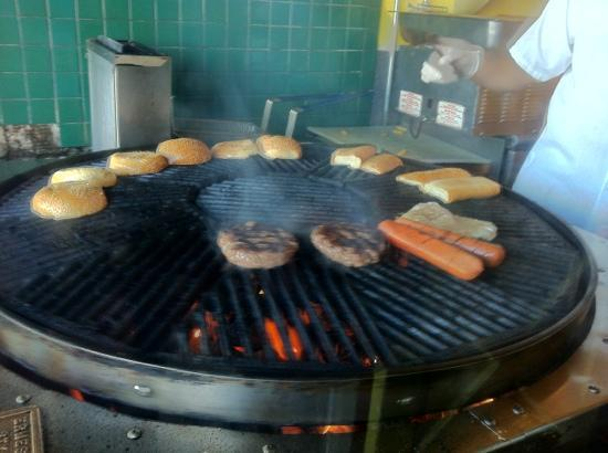 Hamburgers: our order on the grill