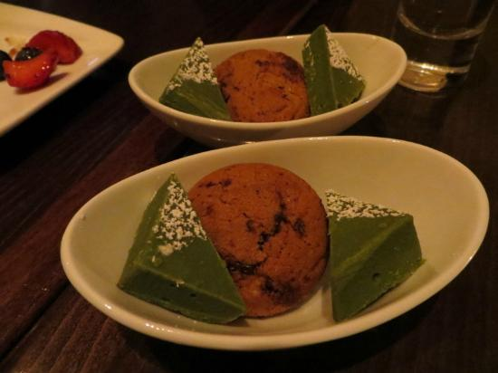 Kyotofu: green tea fudge and chocolate chunk cookie