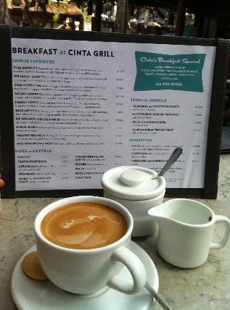 Cinta Inn: Breakfast menu