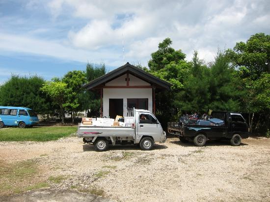 Wakatobi Dive Resort: Air strip - trucks with the week's supply following behind us