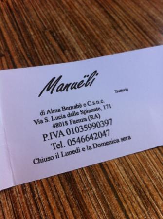 Ristorante Trattoria Manueli : biglietto da visita