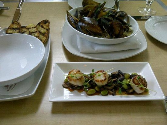 Showcase Restaurant & Bar : Our appetizers - the mussels were superb!