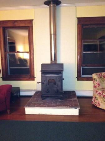 Brookside Bed and Breakfast: wood fireplace