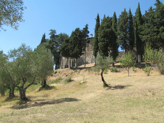 Castello di Petroia: il castello visto dalla piscina