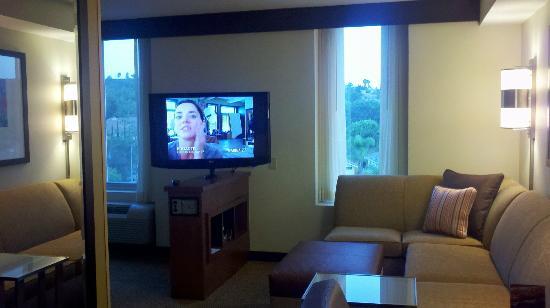 Swivel TV (showing HDMI Panel) in corner room - Picture of Hyatt