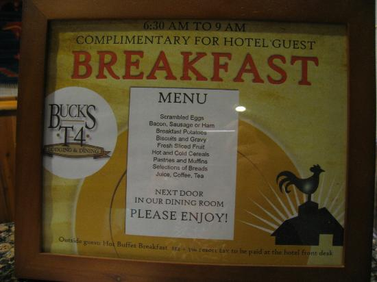 Buck's T-4 Lodge: Breakfast menu