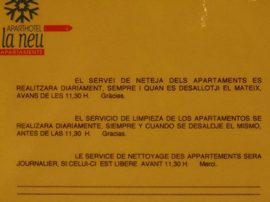 Aparthotel La Neu: Normativas