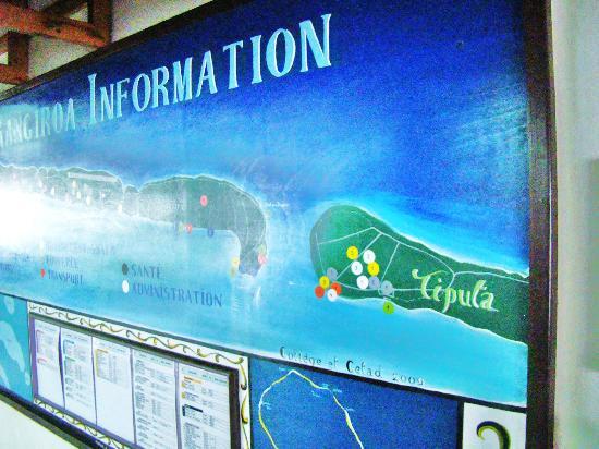 The Six Passengers: Map of Rangiroa showing Tiputa Pass (at the Airport)