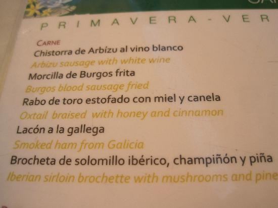 Taberna del Alabardero : Sample menu items
