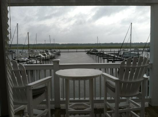 Inn at South Harbour Village: Our deck view of the marina at the condo we rented at The Inn at South Harbor
