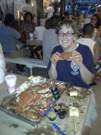 On the Bay Seafood : Wife with a crab - about 3 into it!