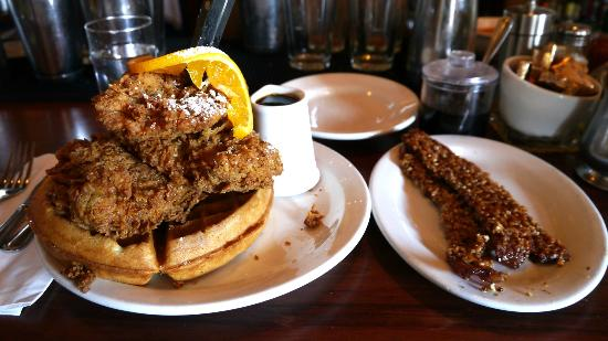 Chicken & Waffles w/side of Screen Door bacon - Picture of