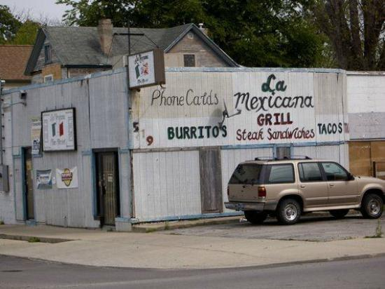 La Mexicana: Store front, from across N.W. 5th Street