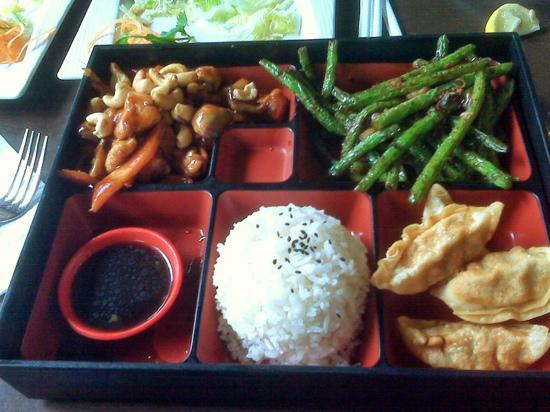 bento box lunch with cashew chicken szechuan green bean gyoza and white rice picture of. Black Bedroom Furniture Sets. Home Design Ideas