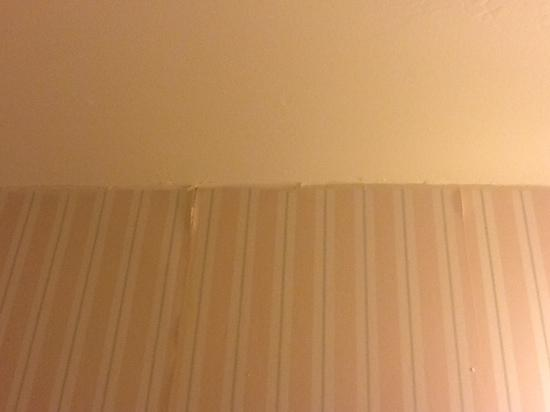 The Carolina Inn: water damage on ceiling, wall paper loose