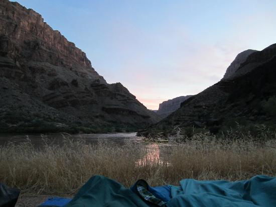 Outdoors Unlimited Grand Canyon Rafting: Typical campsite at Sunrise