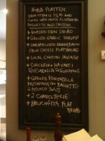 Angeline's Inn: tapas menu for THE HUBB as of Thursday- happy hour