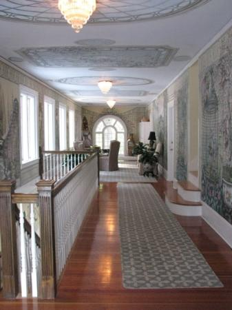 Clark House on Hayden Lake: Upstairs hallway with murals