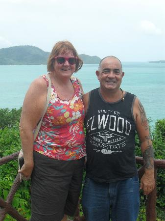 Rawai Beach Resort: Debbie & myself (i'm still say i'm standing in a hole)