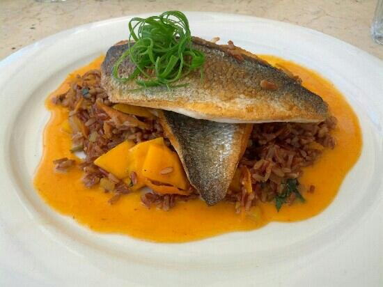 Manta Ray: Blue bream fillet with rice in curry and mango sauce