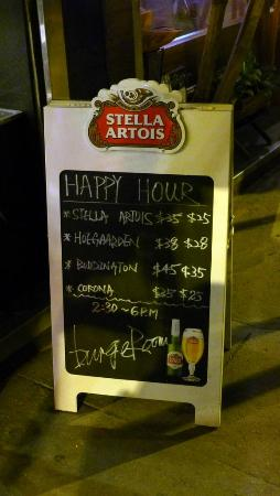 Burger Room : Happy Hour sign