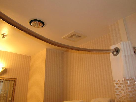 Hampton Inn by Hilton Kamloops: Curved shower rod giving larger area inside shower