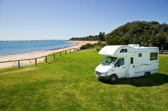 "Cowes Caravan Park - ""Right on the Beach""."