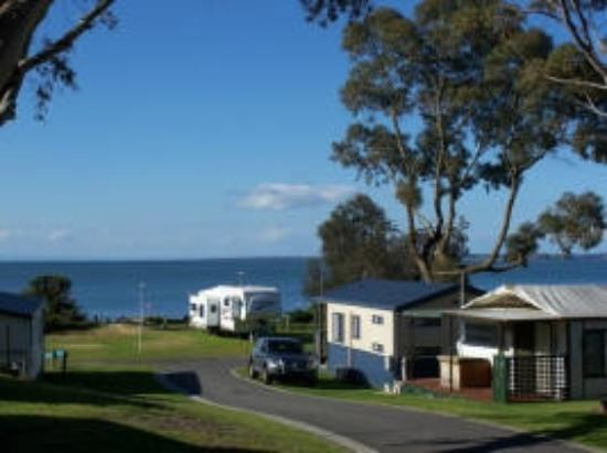 Cowes Caravan Park: View from the deck of Beach View Cabin 3.