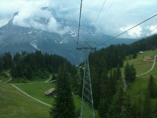 Grindelwald, Zwitserland: On the cable cart to the top