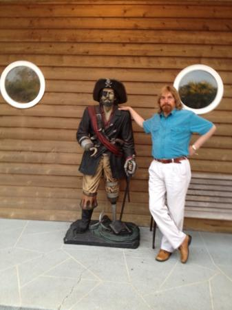 Quatermasters Restaurant and Tavern: two pirates standing outside of Quartermaster's!