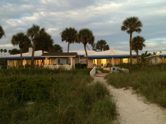 Gulfside Beach Club: View from the beach at sunset.