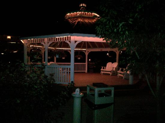 Berlin Resort: gazebo with the pond next to it (at night)