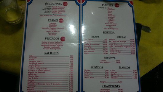 Restaurante Bar Cuesta: Carta