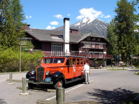 Lake McDonald Lodge: 1936 red Glacier Park touring car