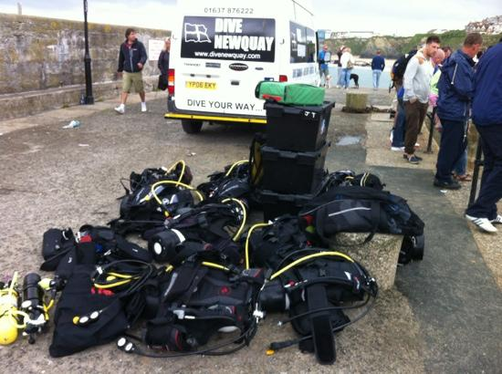 Dive Newquay : kit all ready to be loaded in the boat